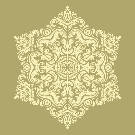 laced: Damask vector floral pattern with arabesques and oriental elements. Abstract traditional golden ornament