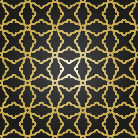 arabian background: Geometric vector texture with oriental elements. Seamless black pattern with golden grill for wallpapers and background Illustration