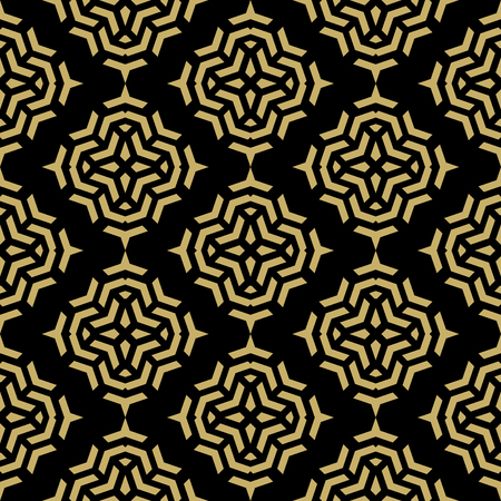 Geometric fine abstract vector dark background with golden geometric elements. Seamless modern texture Vector