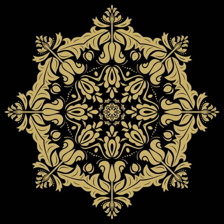 laced: Damask vector floral pattern with arabesques and oriental golden elements. Abstract traditional ornament