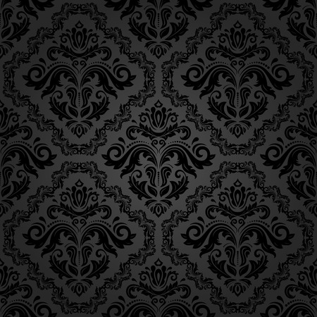 Oriental vector fine classic dark texture. Seamless abstract background