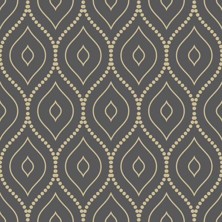 Geometric ornament. Seamless vector background. Abstract repeating geometric pattern with vertical golden waves Vector