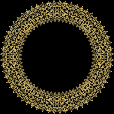 fine: Fine round pattern with black bacground and golden ornament