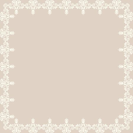oriental vector: Oriental vector abstract white frame with arabesques and floral elements