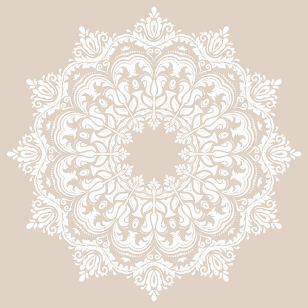 laced: Damask vector floral pattern with and oriental elements. Abstract traditional purple and white pattern