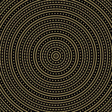 dark texture: Geometric modern vector pattern. Fine dark texture with round golden dotted elements Vectores