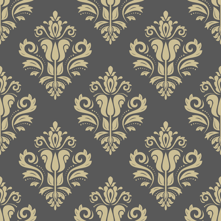 oriental vector: Golden oriental vector classic pattern. Seamless abstract background