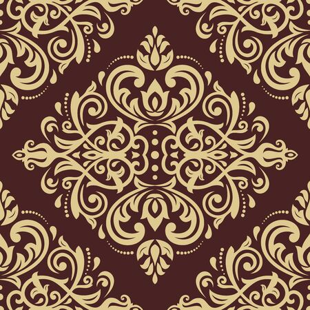 seamless damask: Oriental  fine texture with damask, arabesque and floral elements. Seamless abstract background. Brown and golden colors Stock Photo