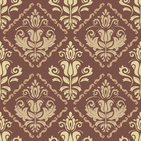 old wallpaper: Oriental  fine texture with damask, arabesque and floral elements. Seamless abstract background. Brown and golden colors Stock Photo