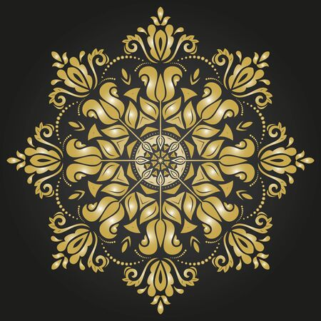 laced: Damask vector floral pattern with oriental elements. Abstract traditional colored ornament. Brown and golden colors
