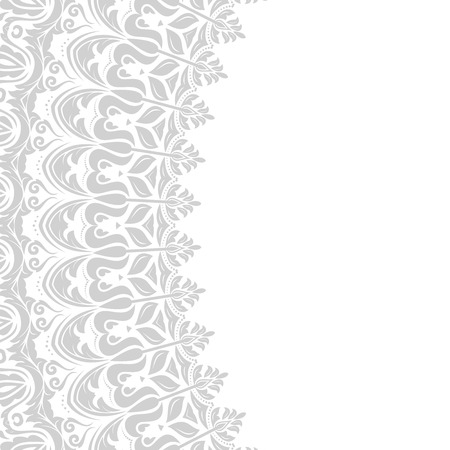 damask: Oriental  frame with grey damask, arabesque and floral pattern. Fine greeting card.