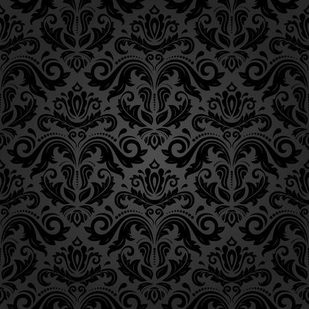 Texture fine Oriental de damas, arabesque et éléments floraux noirs. Seamless résumé Banque d'images - 42299411