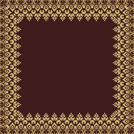 quadratic: Oriental vector abstract golden frame with arabesques and floral elements. Fine greeting card