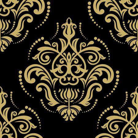 golden: Damask seamless ornament. Fine vector traditional classic golden pattern