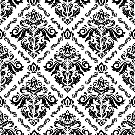 Oriental  fine texture with damask, arabesque and floral elements. Seamless abstract background. Black and white colors 写真素材