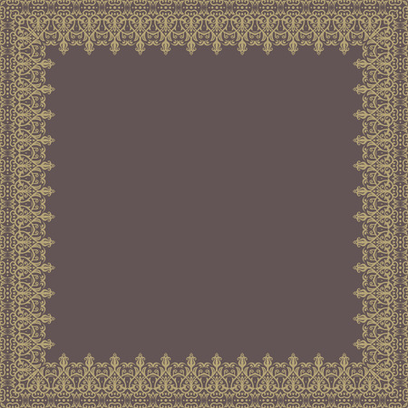 Oriental vector abstract quadratic frame with arabesques and floral elements. Fine greeting card. Brown and golden colors