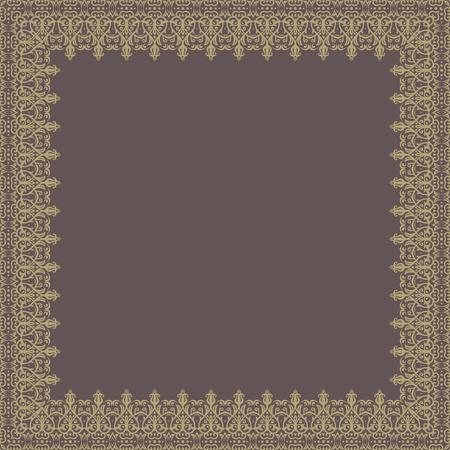 quadratic: Vector Oriental marco abstracto cuadr�tica con arabescos y elementos florales. Tarjeta de felicitaci�n bien. Brown y colores de oro