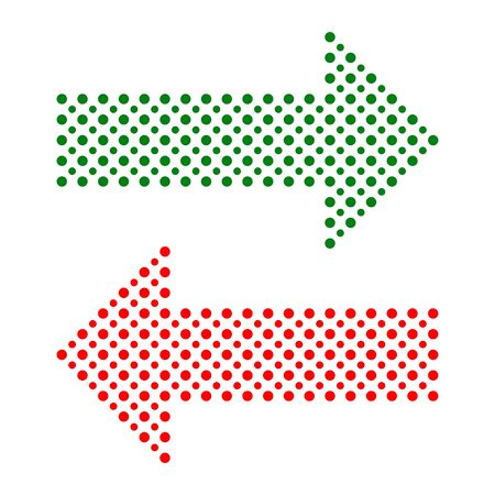 red arrows: Fine vector dotted red and green arrows. Elements for web, infographic and diagrams Illustration