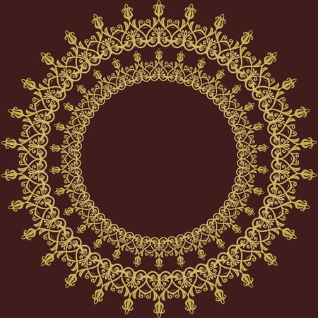 golden frames: Classic vector frame with arabesques and orient elements. Abstract fine round golden ornament