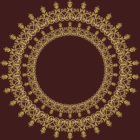 marcos redondos: Marco del vector clásico con arabescos y elementos orientar. bien abstracto redondo ornamento de oro
