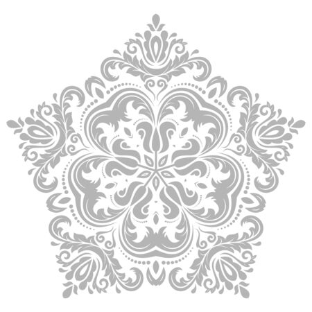 Damask vector floral bright pattern with oriental gray elements. Abstract traditional ornament