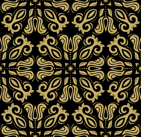 oriental vector: Oriental vector fine classic pattern. Seamless abstract black and golden background