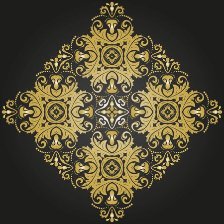 black damask: Damask vector floral fine pattern with oriental golden elements. Abstract traditional ornament Illustration