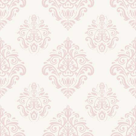 Damask seamless pink and white ornament. Fine vector traditional oriental pattern