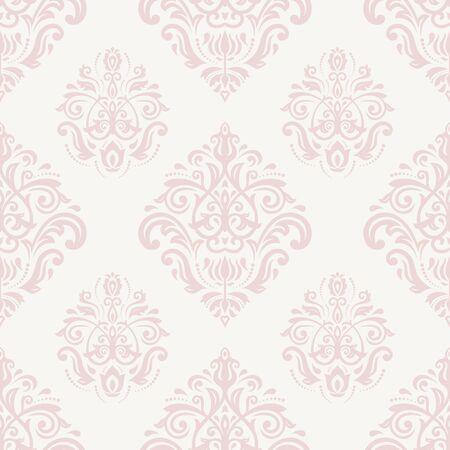 Damast naadloos roze en wit ornament. Fijn vector traditioneel oosters patroon Stockfoto - 42793137