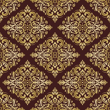 fine: Oriental vector fine classic golden ornament. Seamless abstract background