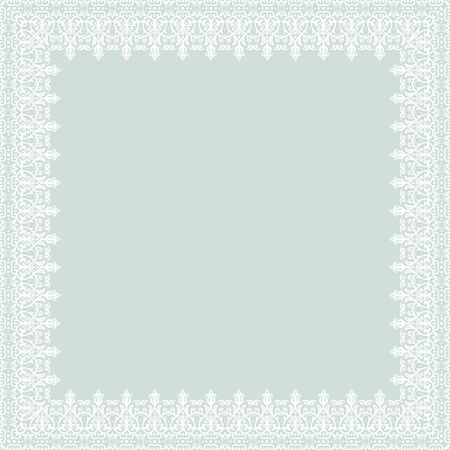 frilly: Oriental  abstract frame with arabesque and floral elements. Light blue and white colors