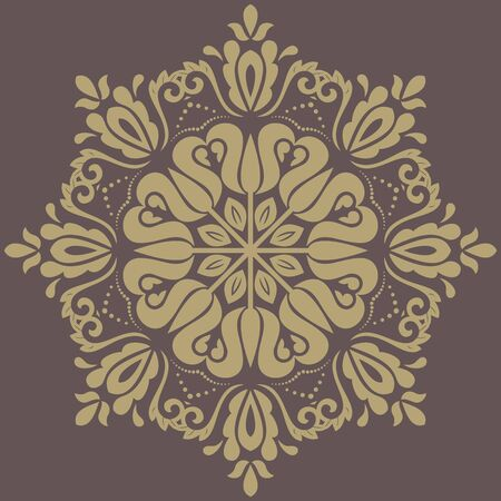 Damask vector floral pattern with golden oriental elements. Abstract traditional ornament