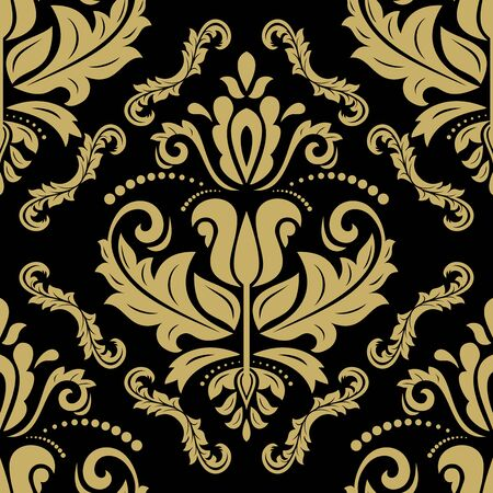 fine: Oriental  fine texture with golden damask, arabesque and floral elements.