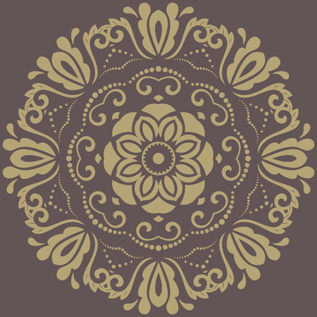 fine: Floral vector oriental golden pattern with arabesques. Abstract fine ornament Illustration