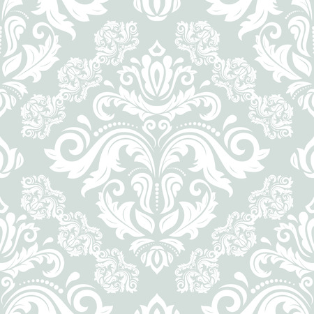 Damask seamless ornament. Fine vector traditional oriental blue and white pattern