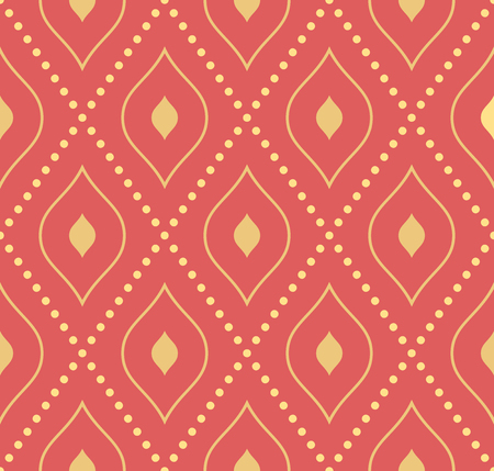 stripes seamless: Geometric repeating  ornament. Seamless abstract red modern texture with diagonal golden dots for wallpapers and background