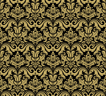 Oriental  fine texture with damask, arabesque and floral golden elements. Seamless abstract background
