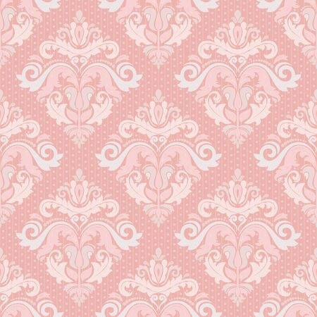 pink wallpaper: Damask seamless colorful ornament. Fine vector traditional oriental pattern