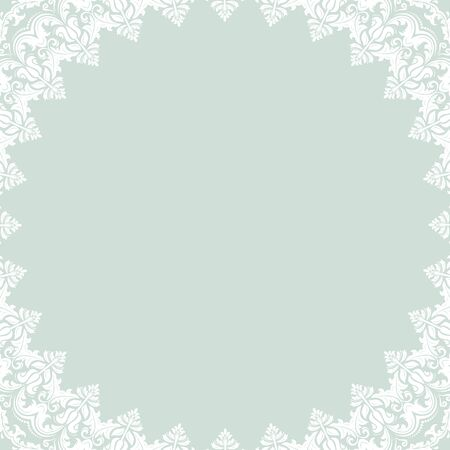 blue light background: Oriental  pattern with arabesques and floral elements. Traditional classic white frame with light blue background Stock Photo