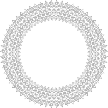 Classic vector round pattern with arabesques and orient gray elements
