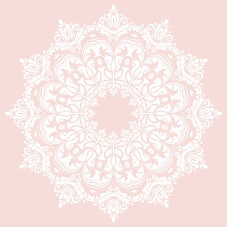 laced: Damask vector floral pink and white pattern with oriental element