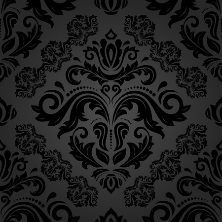 black damask: Oriental  fine texture with black damask and floral elements. Seamless abstract background