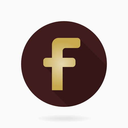 friend  nobody: Fine  golden letter F in the brown circle. Flat design and long shadow