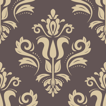 golden background: Oriental vector classic pattern. Seamless abstract brown and golden background