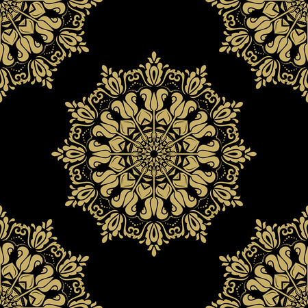 oriental vector: Oriental vector classic pattern. Seamless abstract black and golden background