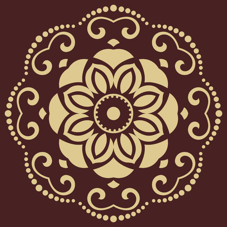 Oriental vector pattern with arabesques and floral golden elements. Traditional classic ornament