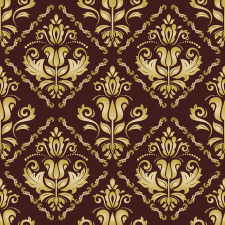 orient: Oriental  fine texture with classic and floral elements. Seamless abstract background. Brown and golden orient pattern Stock Photo
