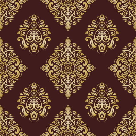 gold brown: Oriental classic pattern. Seamless abstract brown and golden background