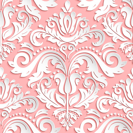 Seamless oriental pink and white ornament. Fine traditional oriental pattern with 3D elements, shadows and highlights 版權商用圖片 - 44203216