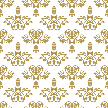 leafs: Oriental  fine classic pattern. Seamless abstract background with golden elements